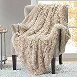 Hyde Lane Fluffy Cute Throw Blankets for Couch Sofa - 2 Way Reversible Ultra Soft Long Faux Fur Couch Throw Blanket   Shaggy Cozy Blanket for Girls   Easy Care Washable Lightweight - 50x60 Beige