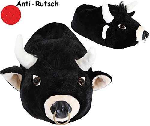 alles-meine.de GmbH Hausschuhe / Pantoffel -  Bulle - Stier  - Größe Gr. 43 - 44 - 45 - 46 - 47 - 48 __ schön warm __ Plüschhausschuh / Tier - Tiere - für Kinder & Erwachsene -..