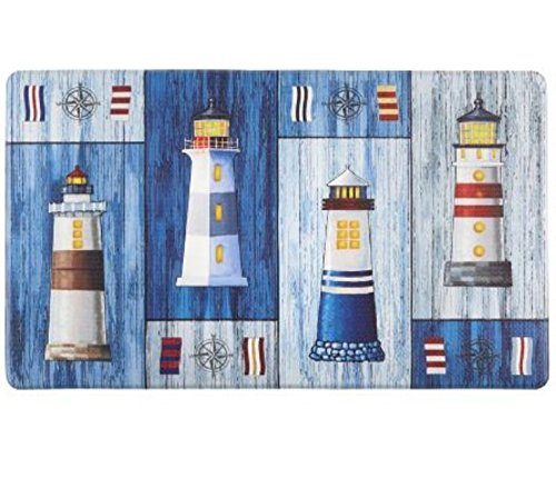 """Nautical Lighthouses Slip Resistant Cushioned Floor Mat 18""""L x 30""""W"""