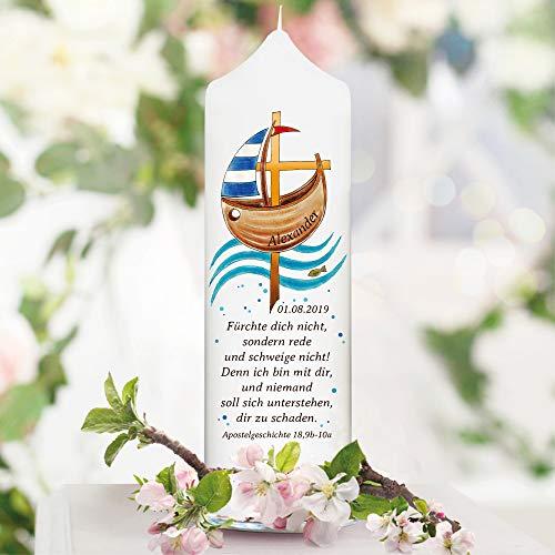 Wandtattoo Loft Taufkerze Boot Jesuskreuz Fisch - Kerze zur Taufe, Geburt oder Kommunion – weiß 25 x 7 cm mit Name, Datum, ggf. Taufspruch / / Kerze 25x7 cm (eigener Taufspruch)