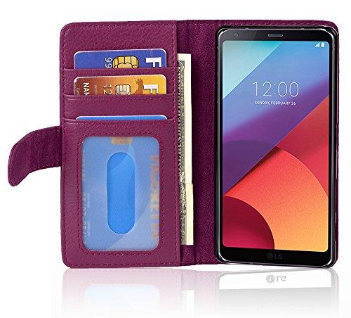 Cadorabo Hülle für LG G6 in Bordeaux LILA – Handyhülle mit Magnetverschluss & 3 Kartenfächern – Hülle Cover Schutzhülle Etui Tasche Book Klapp Style