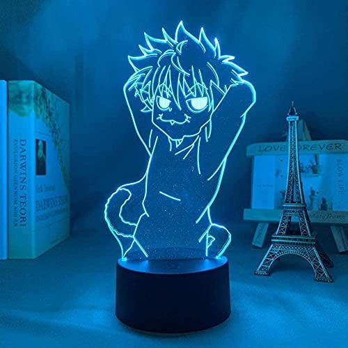3D lámpara de noche anime ilusión lámpara 3D anime Hunter x Hunter Killua para decoración de dormitorio luz de noche regalo de cumpleaños led noche manga hxh kiluca gato