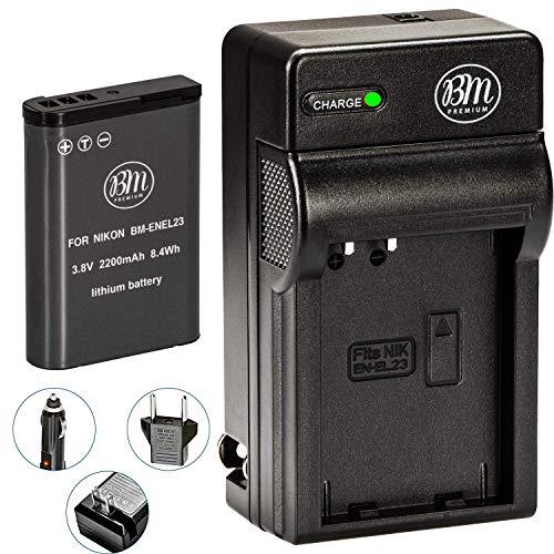 BM Premium EN-EL23 Battery and Charger for Nikon Coolpix B700, P900, P600, P610, S810c Digital Camera