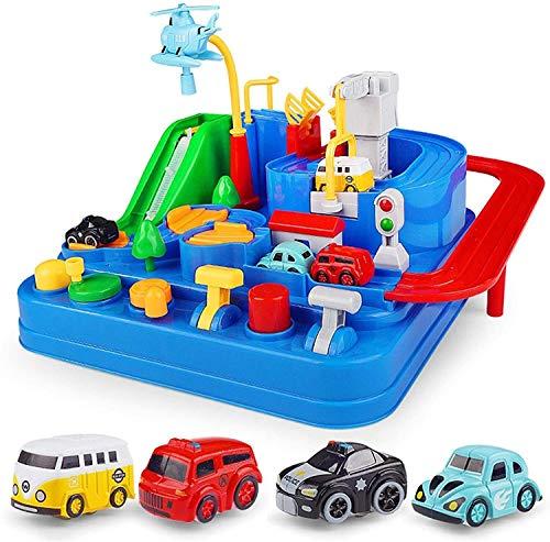 Juguetes para niños Autismo Aventura Juguetes, Pistas de carreras para niños Coche Aventura Toy City Rescue Preschool Educational Juguete educativo, Puzzle de vehículos Plaza de autos Parkings Playset
