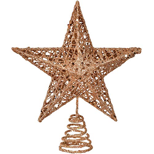 """TOUTN Christmas Tree Topper, Tree-top Star Christmas Decorations, Iron Material Glittering Star Ornament Party Decoration (Rose-Gold, 10"""")"""