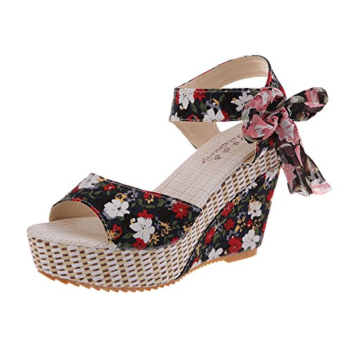 Wyxhkj Sandalias Cuñas Mujer Flor Sandalias De Tacón Alto Con Cordones Sandalias Plataforma Peep Toe Sandalias Bohemias Boca De Pescado Zapatos Romanos Playa Zapatillas De Cuña Niña