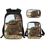 FY-NX Baby Yoda Schulrucksack-Set 3-teilig Schulranzen-Set für Kinder Casual Daypack/Kids Lunchbox/Federmäppchen L Yoda1