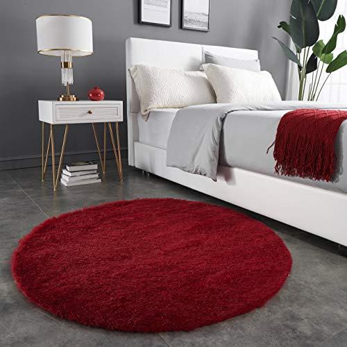 Teppich Wölkchen Hochflor-Plüsch-Teppich I Wohnzimmer Kinderzimmer Schlafzimmer Flur Läufer I rutschfeste Unterseite I 120 rund - Rot