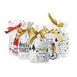 Anyingkai 50pcs Bolsa de Dulces Navideños,Bolsa de Dulces set,Bolsas de Regalo de Comunion,Bolsas de Regalo con Cordón de Navidad,Bolsas de Regalo con Cordón,Bolsa Navidad (E)