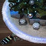 Halo Christmas Tree Skirt - Falda para árbol de Navidad de 60 pulgadas con luces LED programables/sincronización musical - Blancanieves de piel sintética y controlador.