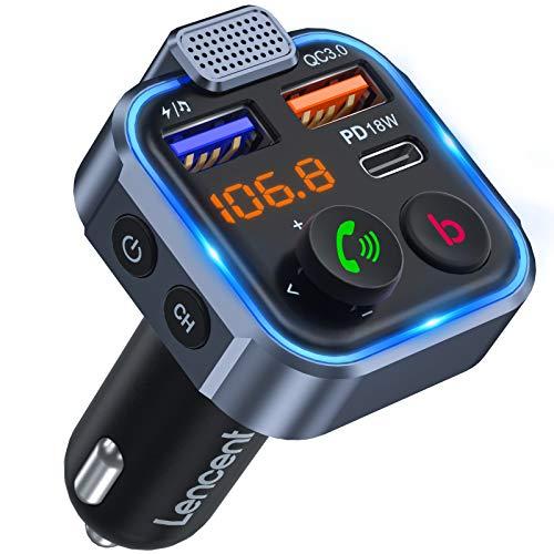 [Versión 2021] LENCENT Transmisor FM Bluetooth 5.0,Manos Libres Reproductor Música Coche, Deep Bass Sonido Hi-Fi, Adaptador Radio Bluetooth 2 USB+Tipo C 20W Carga Rápida, Soporte Memoria USB