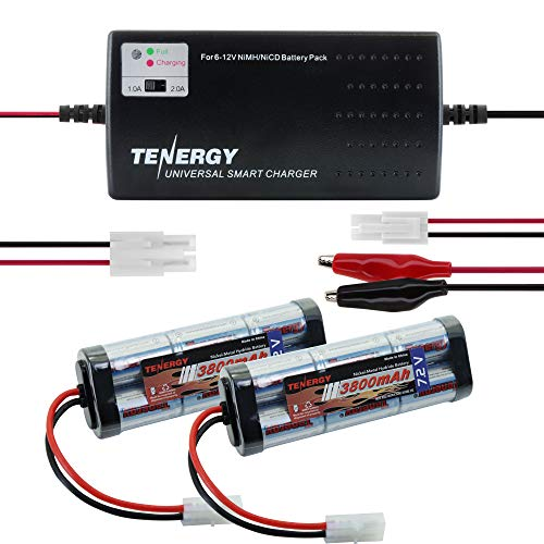 Tenergy 7.2V Battery Pack for RC Car, 3800mAh NiMH Flat Battery Packs 2-Pack w/Standard Tamiya Connector+6V-12V Universal Battery Charger for NiMH/NiCd Battery Packs for RC Hobbies, Airsoft Guns