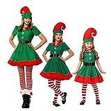 Yueyue Parent-Enfant Costumes de Noël Costume de Lutin de Noël Enfant Cosplay Vêtement Déguisement Elfe Adulte Déguisement (Femme/Fille, Stature:90cm)