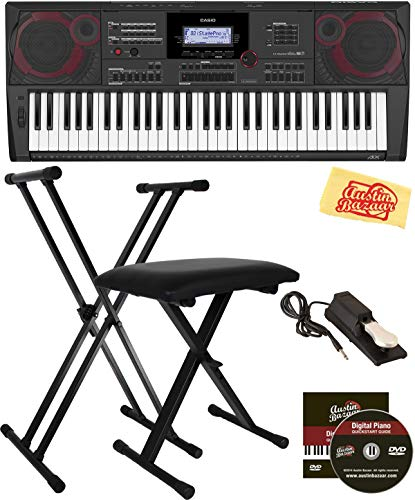 Buy Discount Casio CT-X5000 Keyboard Bundle with Adjustable Stand, Bench, Sustain Pedal, Austin Bazaar Instructional DVD, and Polishing Cloth