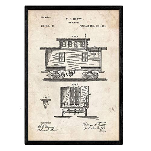 Nacnic Poster con Patente de Carro de Tren. Lámina con dise