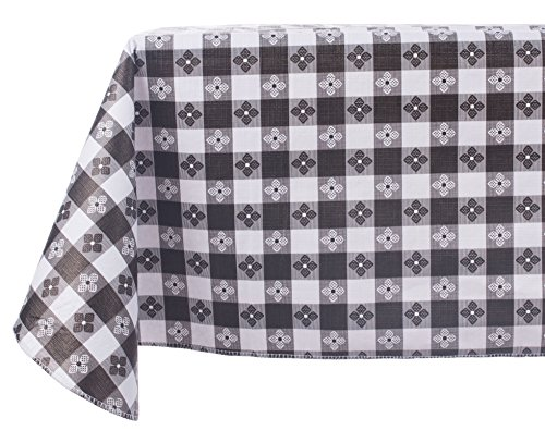 Yourtablecloth Checkered Vinyl Tablecloth with Flannel Backing for Restaurants, Picnics, Bistros, Indoor and Outdoor Dining (Black and White, 52X70 Rectangle/Oblong)