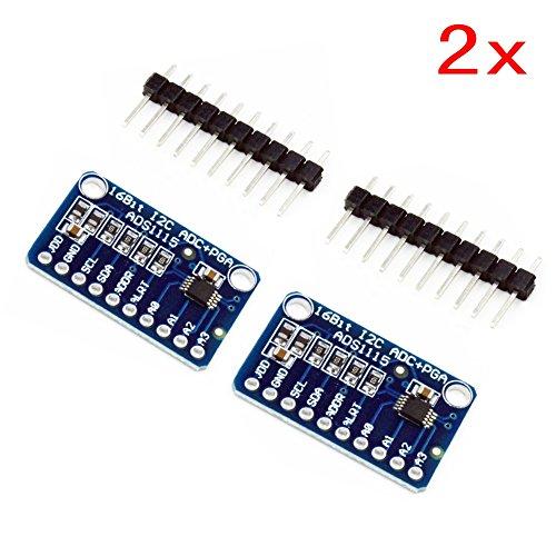 JZK 2X Ads1115 Modulo ADC 16 bits I2c 4 Canales con Amplificador de Ganancia para Arduino y King Pro Gain y Raspberry Pi