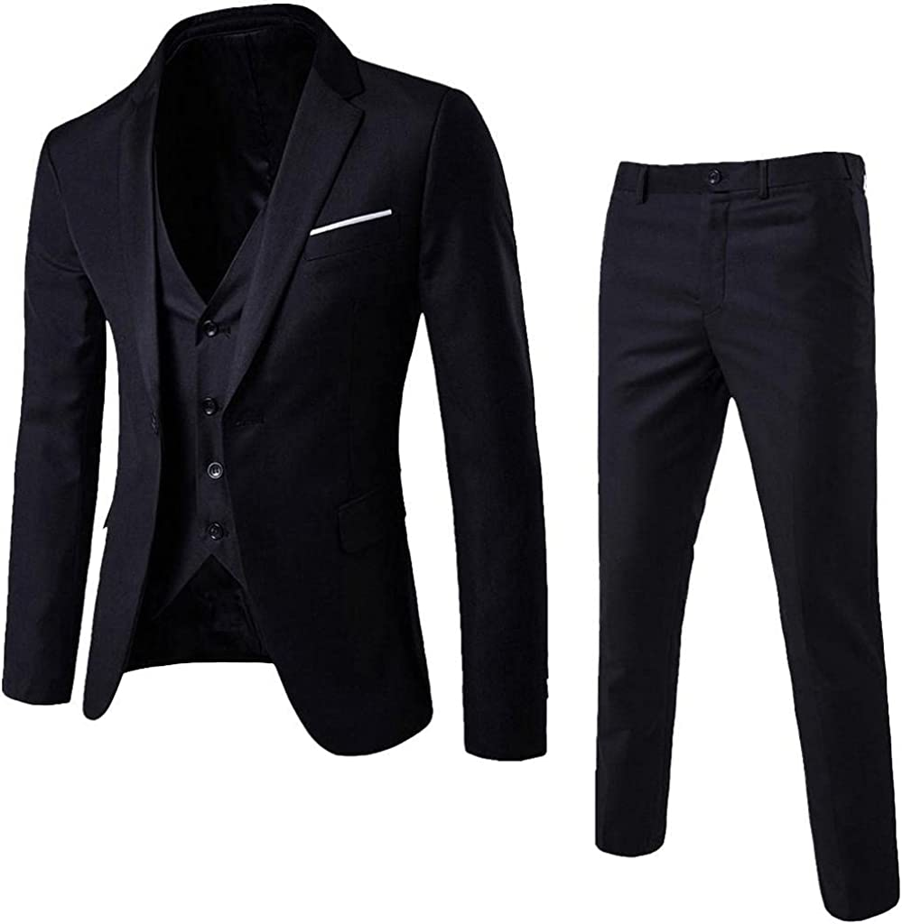 KEEYO Mens 3 Piece Suits Casual Formal One Button Blazer Slim Fit Dress Work Business Wedding Party Jacket Vest Pants