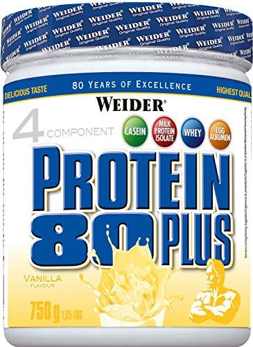 WEIDER Protein 80 Plus Eiweißpulver, Vanille, Low-Carb, Mehrkomponenten Casein Whey Mix für Proteinshakes, 750g