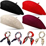 4 Sets French Beret Hat for Women Wool Beret Hat with Square Satin Neck Scarf, Beret Beanie Hats 19.7 x 19.7 Inches Neck Head Scarf for Women