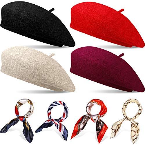 4 Sets Französischer Baskenmützen Hut für Damen Wolle Barett Hut mit Quadratischem Satin Hals Schal, Baskenmützen Hut 19,7 x 19,7 Zoll Halstuch für Damen