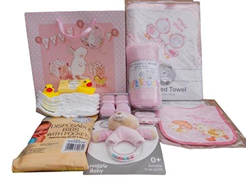 Brand New with tag Baby Girls Hospital Baby Shower Gift bag Bathtime asciugamano con cappuccio Teddy sonaglio