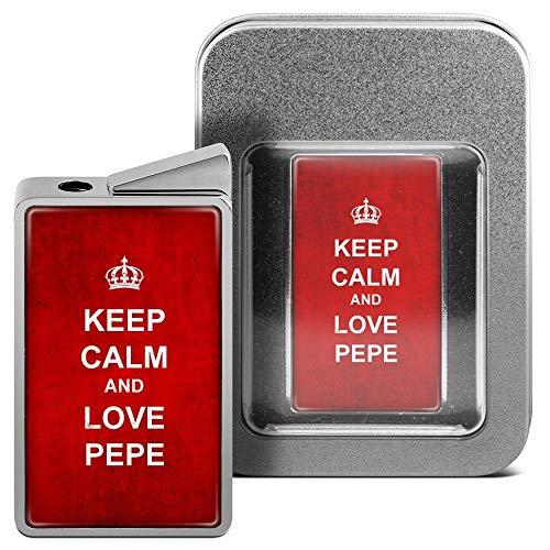 printplanet Feuerzeug mit Namen Pepe - personalisiertes Gasfeuerzeug mit Design Keep Calm - inkl. Metall-Geschenk-Box