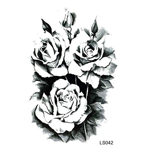 EROSPA® Tattoo-Bogen temporär / Sticker - 3 Schwarze Rosen-Blüten - Wasserfest