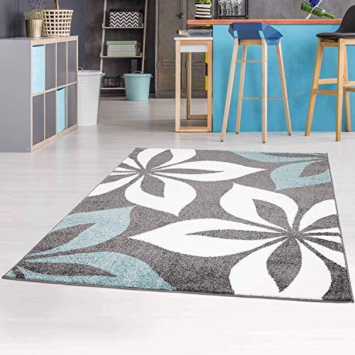 carpet city Teppich-Läufer mit Blumen Moda Modern Flachflor in Blau Grau für Wohnzimmer, Kinderzimmer; Größe: 80x150 cm