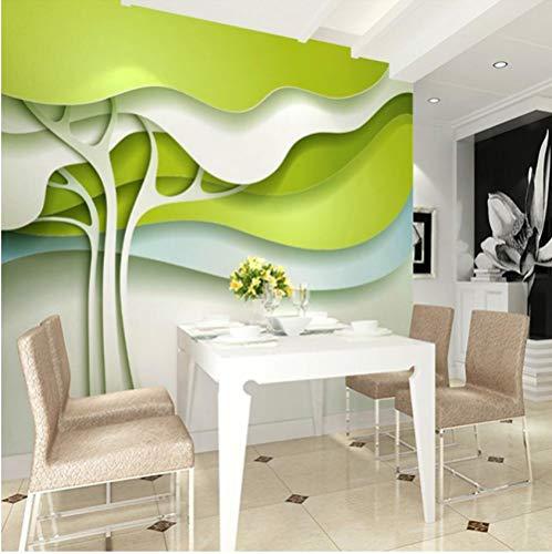 muurschildering op maat 3D niet-geweven stof milieuvriendelijk en duurzaam behang muursticker-reliëf bomen luifel groen 400(w)x280(H)cm