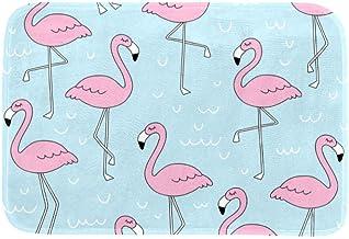 EGGDIOQ Doormats Pink Flamingo Pattern Custom Print Bathroom Mat Waterproof Fabric Kitchen Entrance Rug, 23.6 x 15.7in