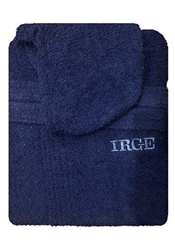Irge Accappatoio con Cappuccio in Spugna 100% Cotone Tinta Unita Uomo Donna Unisex (XL, Blu Notte)