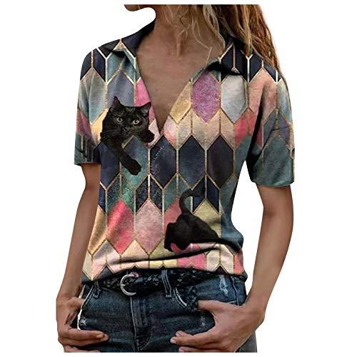 Binggong Camiseta de verano de manga corta para mujer, diseño de diamantes, túnica, cuello en V, para niñas, adolescentes, mejor amigo, para el verano, rojo1, XXXL