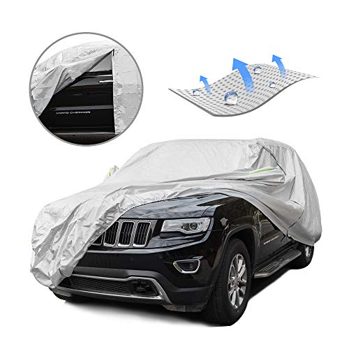 Tecoom Light Shell Waterproof UV-Proof Windproof Car Cover Classic Zipper for All Weather Indoor Outdoor Fit 211-220 inches Full-Size SUV