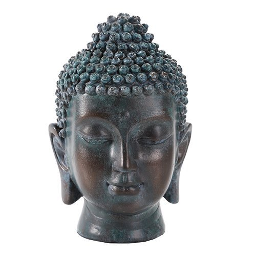 Pacific Trading 6.5 Inch Buddha Head Buddhist Religious Bronze Finish Statue Figurine (Tarnished Bronze)