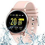 TURNMEON Fitness Tracker Smart Watch for Android iOS Phones,Pedometer Smart Watch for Womens Mens Kids,Full Touch Waterproof Watch Activity Tracker with Heart Rate Blood Pressure Sleep Monitor (Pink)
