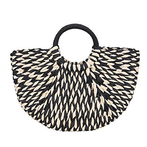 WOKJBGE Straw Beach Bag Strand Straw Vrouwen Tassen Handgemaakte Zwart Wit Gevlochten Dames Handtassen Mand Vrouwelijke Tassen Voor Zomer Vakantie