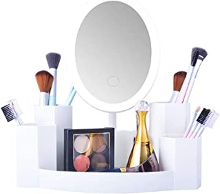 Cosmetic Mirror Desktop Vanity Mirror يمكن إلقاء إضاءة الصمام الغرور مرآة صندوق تخزين مدمجة الغرور مرآة الإضاءة القابلة لإ...