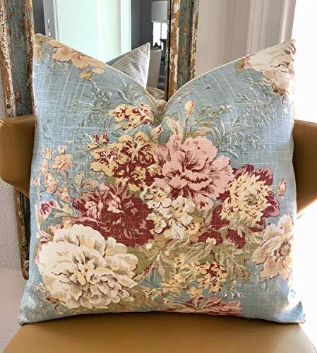 Alfery33red Funda de almohada decorativa Shabby Chic de estilo rústico francés, color azul, decoración floral de casa de campo, cojín de lino de 45,7 x 45,7 cm