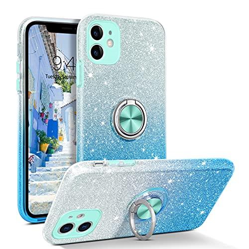 YINLAI - Carcasa para iPhone 11 (función atril, 3 en uno, con lentejuelas, antigolpes), color azul degradado
