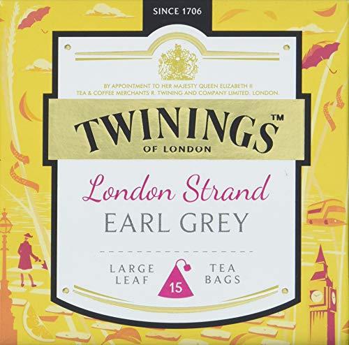 Twinings London Strand Earl Grey Tea, Veredelt mit dem Geschmack von Bergamotte, anderen Zitrusfrucht-Noten und einem Hauch Zitronenschale. 15 Teebeutel ∙ Tee 4er Pack (4 x 38 g)