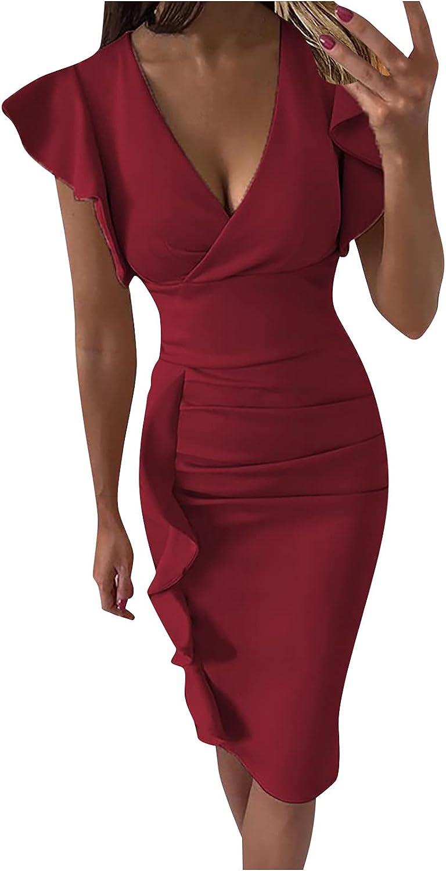 VWRXBZ Women Ruffle Peplum Bodycon Cap Sleeve High Waist Wrap V Neck Business Pencil Cocktail Party Dress