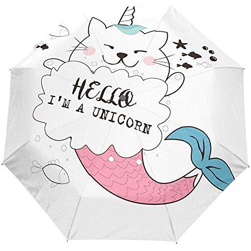 Hallo droom paard zeemeermin schattig dier auto open paraplu zon regen paraplu anti-UV vouwen compacte automatische paraplu