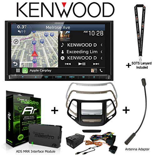 Best Review Of Kenwood Excelon DNX995S 6.8″ HD Navigation Receiver CarPlay/Android Auto, iDatalink KIT-CHK1 Dashkit for Jeep Cherokee, Antenna Adapter, and ADS-MRR Interface Module and a Lanyard Bundle (Renewed)