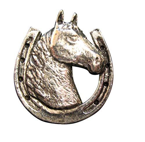 Brazil Lederwaren Ansteckpin Pferdekopf im Hufeisen | für den Hut oder das Revers | Perfekt zum Reit-Outfit | Anstecker Pin Button | Altsilber