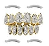 Top Class Jewels 24K Gold Plated Iced out Grillz con Diamanti Micropave CZ + 2 Barre di Modifica Extra