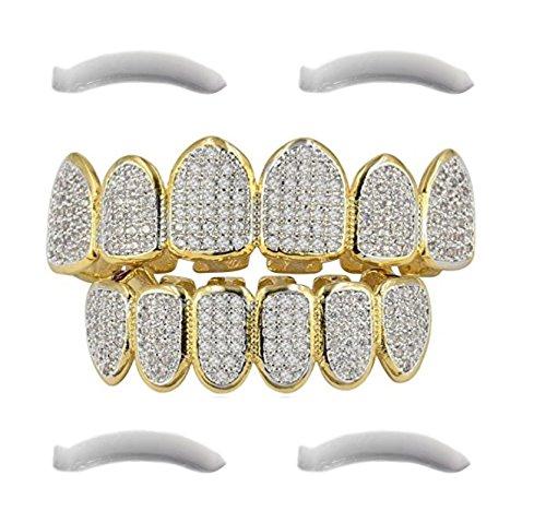 Grillz Funda para dientes, chapada en oro de 24 ct. con diamantes de circonitas cúbicas micropavé (incluye 2 tiras de fijación adicionales)