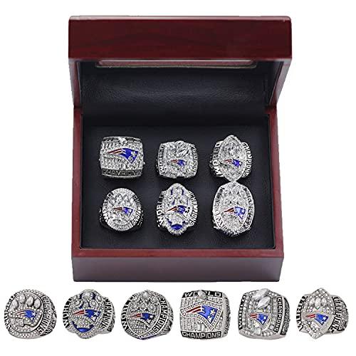 2001 2003 2004 2014 2016 2018 'New' England Championship Ring Versión oficial Juego de réplicas con caja de madera Anillo de aleación Super 'Bowl para' Patriots Brady Fans Gift Collection (6pcs)