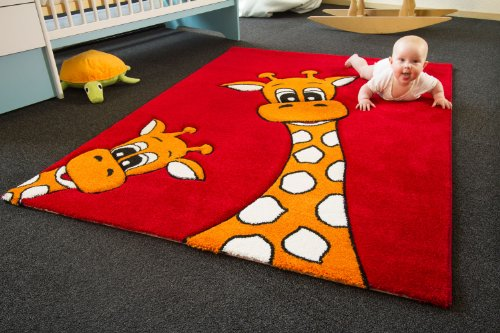 Kinder Teppich Giraffe Lia rot - Little Carpet Kollektion - Öko-Tex zertifiziert, Größe: 120x170 cm
