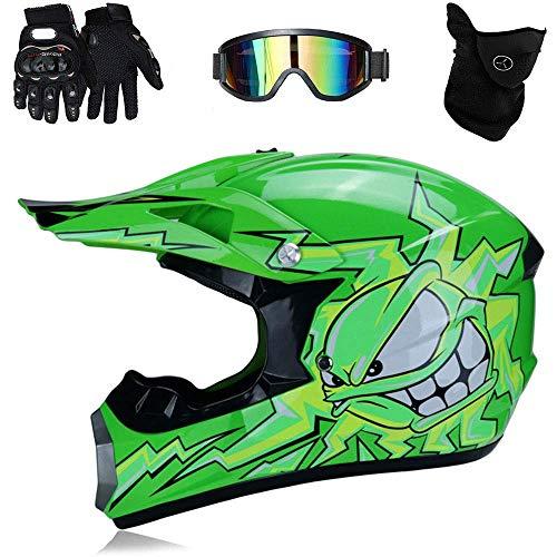 TKUI Motos Motocross Cascos y Guantes y Gafas estándar para niños ATV Quad Bicicleta go Casco de Kart